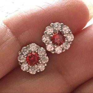 Jewelry - New White gold filled studs earrings garnet gift